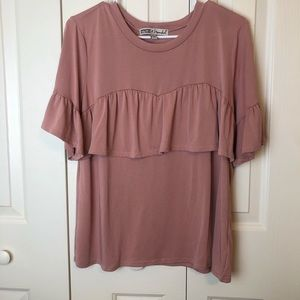 Gypsies & Moondust Pink Ruffled Blouse Size XL